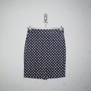 J. Crew Factory | Navy Polka Dot Pencil Skirt